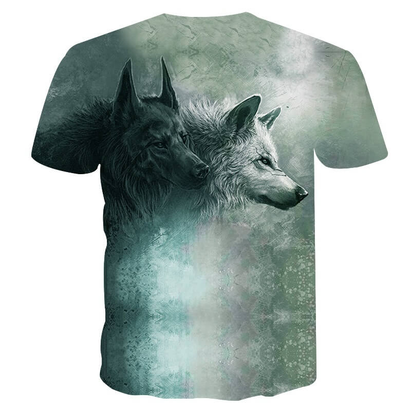 Black And White Wolf Shirt Back
