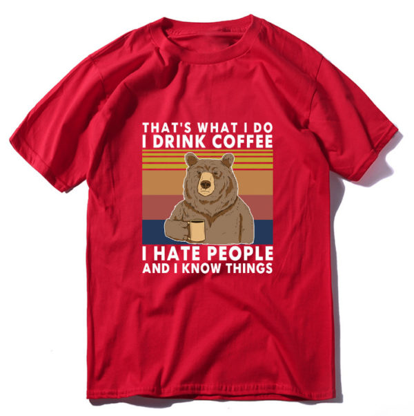 I Hate People Bear Shirt Red