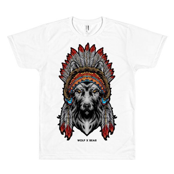 Indian American Wolf T-Shirt - White