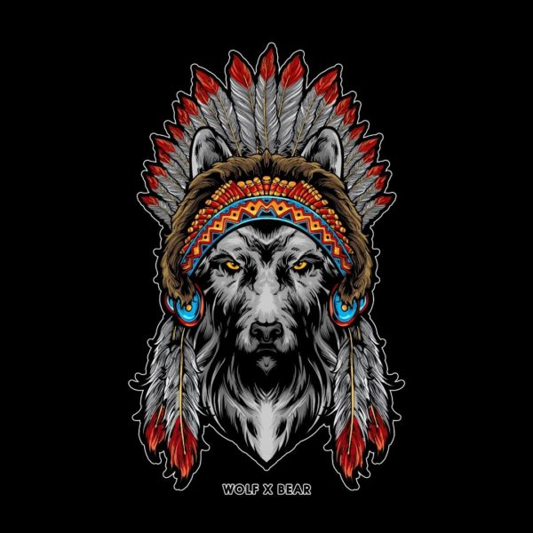 Indian American Wolf T-Shirt design by WOLF X BEAR