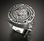 Men's Nordic Silver-Plated Wolf Head Ring