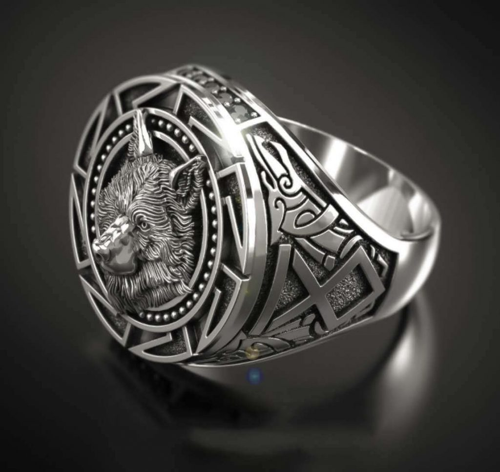 Men's Nordic Silver-Plated Wolf Head Ring Side